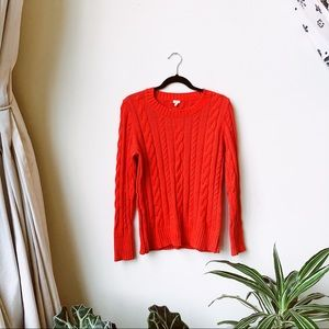 J.Crew red cable knit sweater